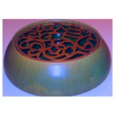 Large Tiffany Favrile Pottery Bowl w/ Pierced Grill Lid