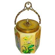 French Cut Opaline Glass Biscuit Jar w/Enamel Insects & Bronze Mounts