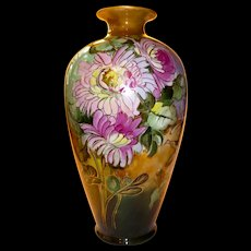 Large Hand Painted Floral Vase for Tiffany & Co. New York