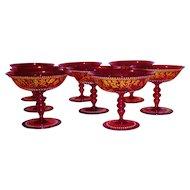 Set/8 Gilt Enamel Venetian Glass Stems w/Classical Frieze Masks
