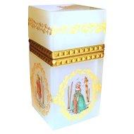 White Opaline Glass Box w/Ormolu Mounts 18th Cent. Figures