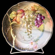 "J & C ""Senta"" Hand painted porcelain plate with hanging Grape and Floral design"