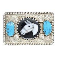 Vintage Signed Zuni Silver Belt Buckle by artist Isabelle Simplicio
