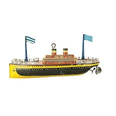 1920's Tin Lithographed Toy Wind Up Boat