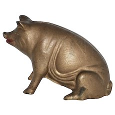 1910-1930's Cast Iron Seated Pig Bank
