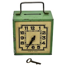 "Vintage 1950's Tin Lithographed ""Clock"" Bank"