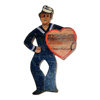 Vintage WWII Sweetheart Jewelry - Wooden Sailor Pin