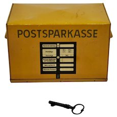 "Vintage 1950's Germany Tin Lithographed ""Postal"" Bank"