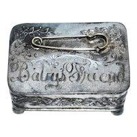 Antique 19th C Silver Quadruple Plate Baby's Diaper Pin Box