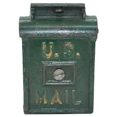 "1930's A. C. Williams Cast Iron ""U.S. Mail"" Letter Box Toy Bank."