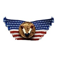 """WWII RWB Ribbon & 1919 Penny """"V"""" for Victory Sweetheart/Homefront Pin"""