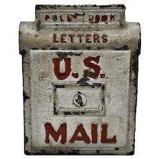 """1930's Cast Iron """"U.S. Mail"""" Letter Box Toy Bank."""
