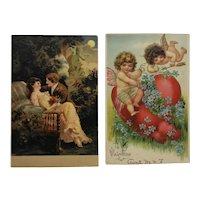 2 Victorian Valentine Postcards