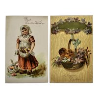 Two Victorian Easter Greetings Postcards with Chicks