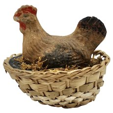 Vintage Composition Hen on Woven Basket Basket Candy Container