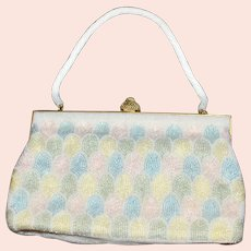 Vintage Pastel Colored Beaded Handbag