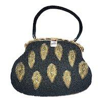 Vintage Black and Gold Beaded Handbag