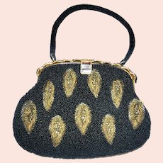 Vintage Black and Gold Beaded Handbag