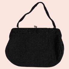 Vintage Classic Black Beaded Evening Bag