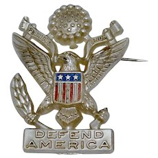 WWII Sweetheart Jewelry/Homefront Plastic Pin - Defend America