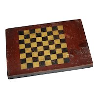 Late 1800's Painted Primitive Folk Art Pine Game Board