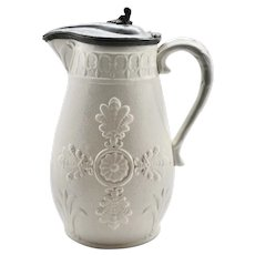 Mid to Late 19th Century Salt Glaze Stoneware Pitcher with Pewter Rim & Lid