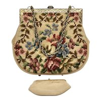 Vintage French Needlepoint Purse w/Petit Point Floral Detail
