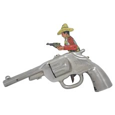 """Vintage """"Me and My Buddy"""" Tin Clicker Toy Pistol"""