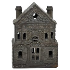 1920's Cast Iron Bank Building Toy Bank