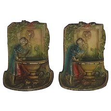Antique Cast Iron - Rebecca At The Water Well Bookends - Original Paint