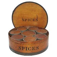 Antique Pine Bentwood & Tin Spice Box - Pat. 1858