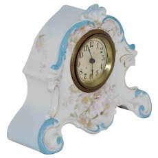 1890-1905 Floral Design Porcelain Shelf Clock - Good Working Condition