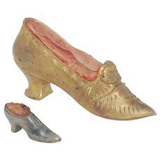 Pair of Vintage Victorian Metal Shoe Pin Cushions