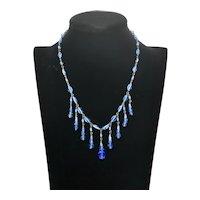 Vintage Medium Blue Glass Bead & Chain Necklace