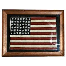 Framed Authentic Rare 42 Star Cotton Parade Flag