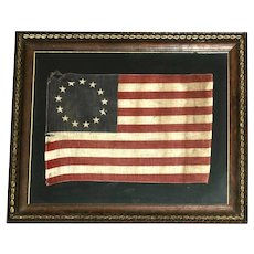 Framed Antique Betsy Ross Style Parade Flag