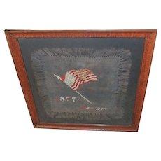 Framed 1877 Needlepoint Centennial Sampler
