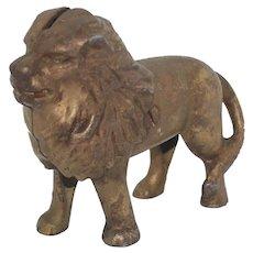 1920's Cast Iron Lion Bank