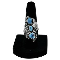 Vintage Sterling Silver & Turquoise Navajo Ring