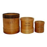 Set of 3 Primitive Vintage French Dry Measures
