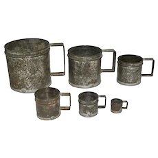 Vintage Primitive French Graduated Tin Dry & Wet Measures