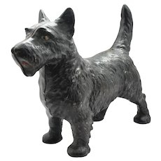 Antique Hubley Cast Iron Standing Scottish Terrier Doorstop