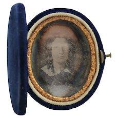 Daguerreotype of Woman in Oval Velvet Latching Case