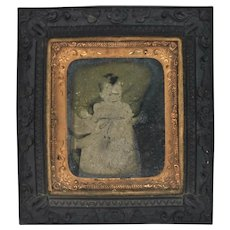 1850's Daguerreotype Infant Image In Thermoplastic Wall Frame
