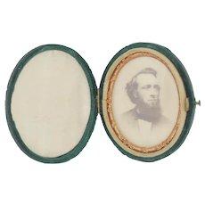 Carte de Vista of Man in Oval Velvet Latching Case