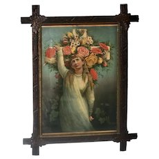 Victorian Print in Antique Cross Frame