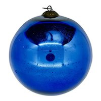 Large Cobalt Blue Antique German Glass Kugel Christmas Ornament