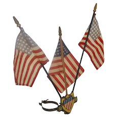 1920's Bicycle, Motorcycle, Automobile Patriotic Tin Lithograph Flag Holder w/ 48 Star Flags