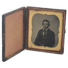 Antique Tin-type Photo in Leather Tooled Union Case