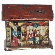 "Very Scarce Antique Tin Litho ""Hansel & Gretel"" Bank Penny Toy"